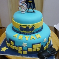 Batman   butter cake covered with butter cream and fondant