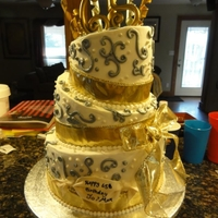 65Th Birthday Silver and gold 65th Birthday cake