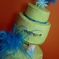 Green And Blue Birthday Cake