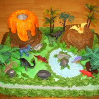 Dinosaur Birthday Cake This is an all chocolate 1/2 sheet cake with bc icing with some plastic decorations. The volcano and mountain was carved from angel food...