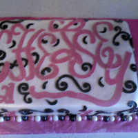 Fun Snazy Birthday Cake   Sheet cake, with fondant, also fondant decorations and hand made lettering out of fondant.