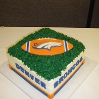 "Denver Broncos Grooms Cake A surprise Grooms Cake for a Denver Broncos fan. Stacked 10"" square. Funfetti with lemon mousse filling. Green frosting 'turf&#..."