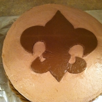 Boy Scout Emblem Cake attached by bridge to arrow of light cake for a crossing over ceremony