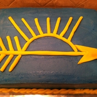 Arrow Of Light Cake was attached by bridge to boy scout emblem cake (also on this site)