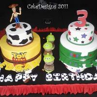 "Toy Story For Twins Toy Story themed cake for twins turning 3. 6"" and 10"" 9 iced in buttercream with fondant decorations. I wish I had taken the..."