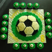 Soccer Ball Cake And Cupckaes Half soccer ball and soccer cupcakes.Chocolate cake and buttercream frosting