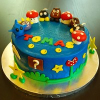 Super Mario Cake And Cupcakeschocolate Cake With Buttercream And Fondant   Super Mario cake and cupcakesChocolate cake with Buttercream and fondant