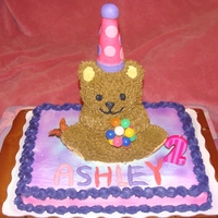 Teddy Bear Cake Made this for my little girls bday. I used the Wilton bear pan. The hat is a ice cream cone