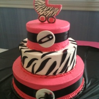 Hot Pink, Black And Zebra Stripes Baby Shower Cake Hot pink, black and zebra stripes baby shower cake