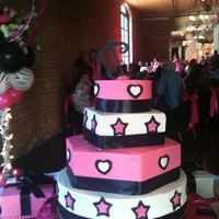 Sweet Sixteen/quinceanera Hot pink with round, square, and hexagon tiers