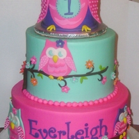 Owl Blossom First Birthday Iced in buttercream with fondant accents.