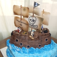 Pirate Ship Cake W/ Jolly Roger Hollysbakery.com   Pirate ship cake from hollysbakery.com