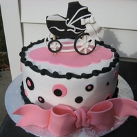 Baby Buggy Buttercream/fondant buggy/bow