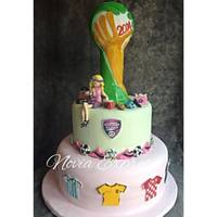 Futbol Cup World *two tiercake for ladyshoping bag, bag and shoes in gum paste