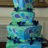 Peacock Wedding Off set square cakes, sprayed with Wilton's blue and green food spray. Teardrops are cut out of fondant. The flowers are paper, they...