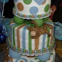 Monkey Baby Shower Iced in buttercream, decorated with fondant. The monkeys were made of fondant as well. This was my first fondant animal. I was really happy...