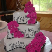 Pink And Black Wedding This was my 2nd attempt at covering a cake with fondant, I'm slowly getting better, thankfully there were flowers I could use to cover...