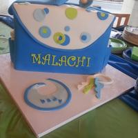 Diaper Bag Made this cake as a surprise for my niece's baby shower. Everything is edible.TFL.