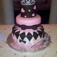 Princess Of The Day Princess themed baby shower cake. Everything edible except the tiara and wand cake decor set. TFL.