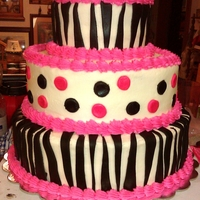 Sweet 16 Zebra Cake Buttercream icing and chocolate marshmallow black fondant stripes, fondant polkadots