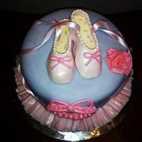 Dancing Princess Fondant covered cake with gumpaste ballet slippers