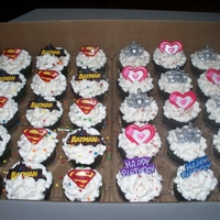 "Kindergarden 6Th Birthday Daughter's 6th Birthday Cupcakes for school. Boys had super heros and Girls had glam!!! They were chocolate cupcakes with a ""..."