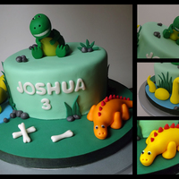 Dinosaurs inspired by many great dinosaur cakes on this site and elsewhere. i think Joshua liked his cake, though he had no interest in eating it. he...