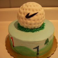 "Golf Groom's Cake  Thanks so much to Georgiared for the design inspiration. 8"" chocolate cake with buttercream icing and fondant accents. RKT golf ball..."