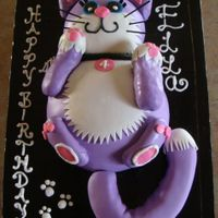 Ella's 4Th Birthday Cake She wanted a big, giant, purple kitty cat cake that was bigger thanher house!