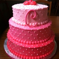 "Pink Ombre Cake Fondant C And 1 On Top Pink ombré cake. Fondant ""c"" and #1 on top."