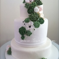 Succulents And Flowers 3 tier succulents and flowers wedding cake