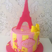 Pink And Yellow Paris And Poodles Cake pink and yellow Paris and poodles cake