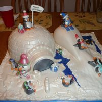 Penguin Playground Igloo was made out of cake and snow hill was leftover cake and RKT. Super easy cake to make and a lot of fun too. Entire cake was...
