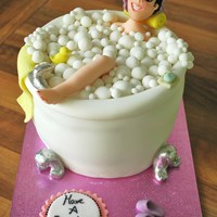 Relaxing Bubble Bath Covered in fondant, all decorations fondant with gum to make it firmer