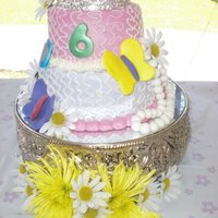 A Fancy Nancy Cake  My oldest Grand Daughter who was turning 6, wanted a Fancy Nancy Cake, all buttercream icing, all the accents(Except the crown) and the...