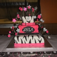 Sweet 16 For Nyla   Pink, Black & Silver,