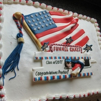 Patriotic Grad Cake This cake was a lot of fun.. I had color flow , fondant and BC. She wanted it to represent the family business which is food vending. Her...