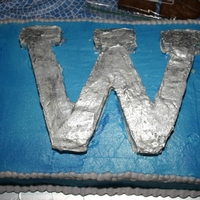Western High School   All cake covered in BC, air brushed bottom blue and hand pianted W.
