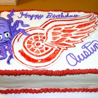 Redwings Birthday Cake   BC with fondant imblem and octopus body.