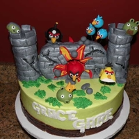 Angry Birds My take on the Angry Birds, based on an Angry Birds poster in the store. All hand-molded fondant birds, pigs, etc. Castle is RKT covered in...