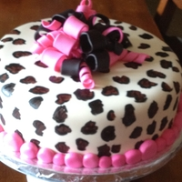 Leopard Print Cake This is a chocolate cake with fudge filling and chocolate frosting covered in fondant. The leopar print is hand painted with food coloring...