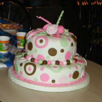 Pink, Green And Brown MMf fondant, yellow cake with dulce de leche filling (milk caramel) the design was ispired by the invitations.