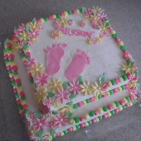Girl Baby Shower   Pineapple filled Butter cake with Buttercream Frosting and Fondant accents.