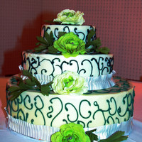 Green For Spring   Whipped buttercreame with hunter green piping. White Almond Sour Cream cake.