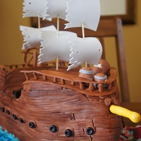 Pirate Ship This was a huge cake i made for the boys Pirate themed birthday party. Chocolate cake covered with MMF
