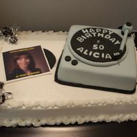 50Th Birthday This is a 1/2 sheet wasc with buttercream, and an 8x8 fondant covered cake used for the turntable. Fondant details and an edible image used...