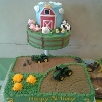 John Deere Birthday I made this cake for my sons 3rd birthday party. His theme was john deere, so I did a little cake with farm animals (made out of fondant)...