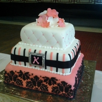 Pink And Black Damask Grad Cake Client sent me a picture of a cake and wanted me to make it look like that cake. Pink, white and black. Used a stencil for the black damask...