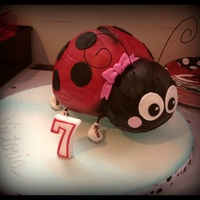 Lady Bug On Skates Birthday Cake! This sculpted cake was made for my son's friend's 7th birthday. It was iced using the crusting buttercream recipe and the Viva...