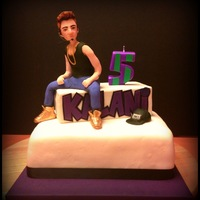 The Biebs Cake!  This cake was for my friend's daughter who turned five. She shares the same birthdate as Justin Bieber and she thinks he is her...